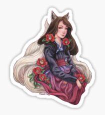 Gumiho/Kitsune with Camelias - Fox Spirit Girl Sticker