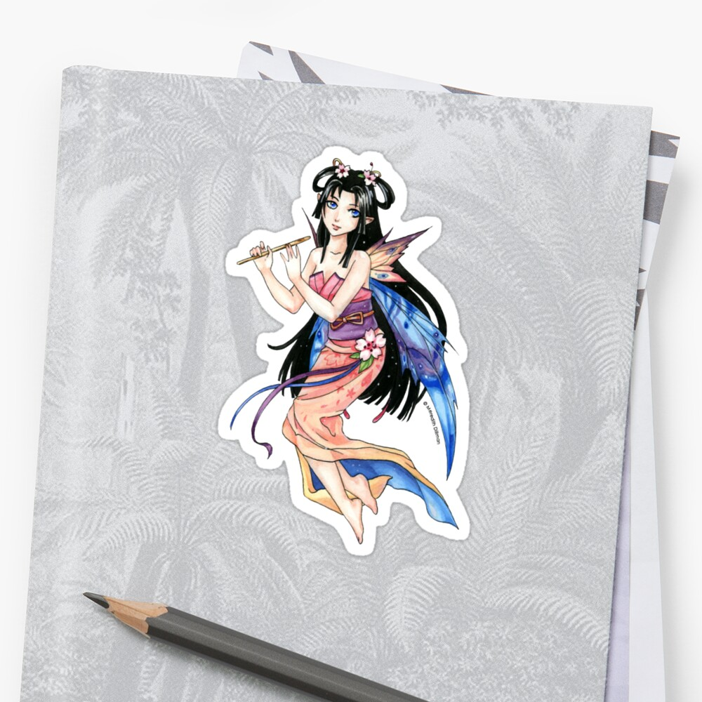 Little Spring Kimono Fairy playing a flute by Meredith Dillman