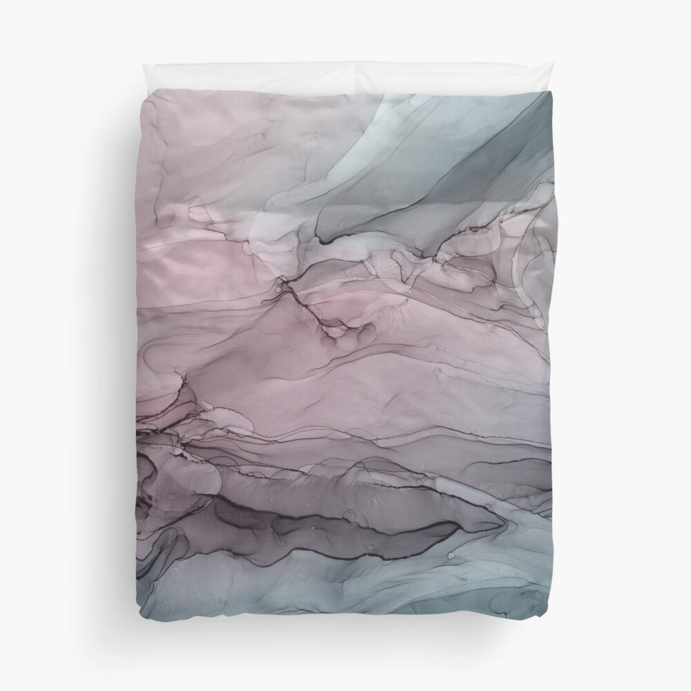 Mauve Blush & Stormy Blue Flow Abstract 1 Duvet Cover