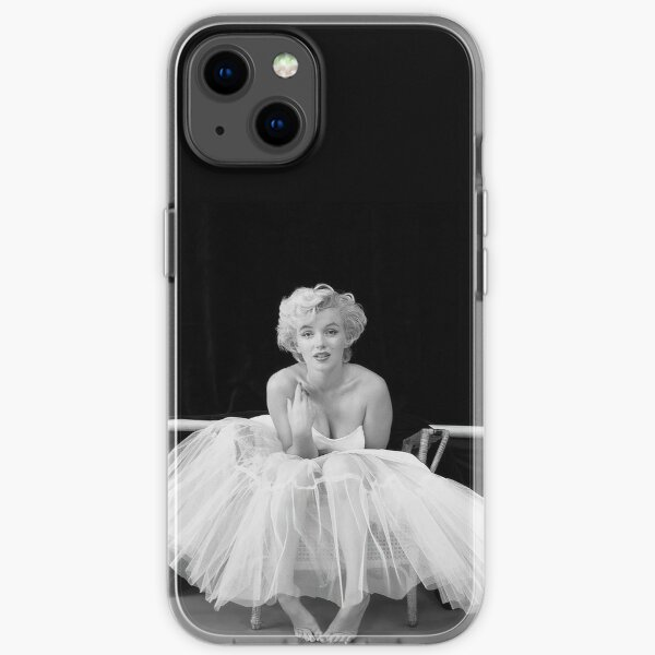 Marilyn Monroe in White Dress, Black and White Vintage Wall Art iPhone Soft Case