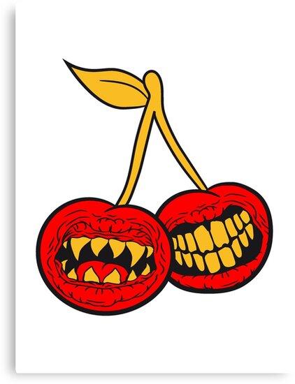 Lienzos «2 monstruo boca cerezas de terror espeluznante de Halloween ...