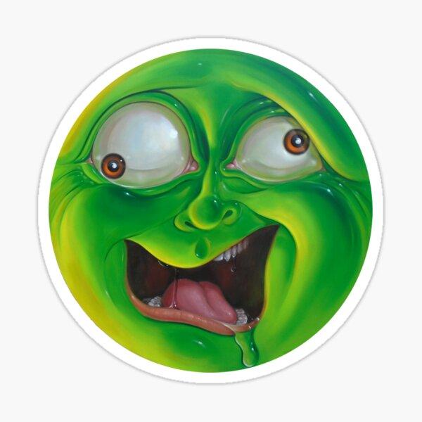 Crazy Green Face Sticker