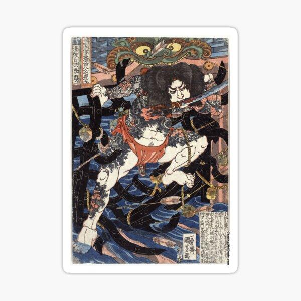 Lang Libai And Fei Zhangan - Kuniyoshi Utagawa - 1826 - woodcut Sticker