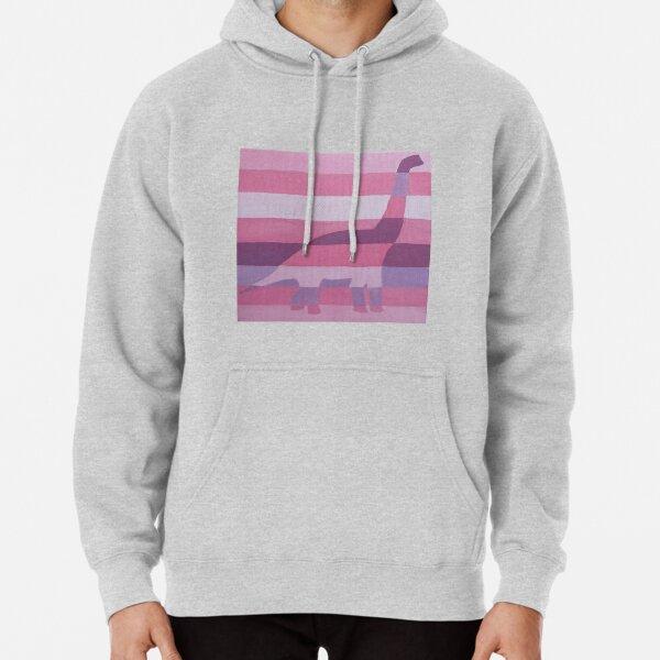 Apatosaurus Pink Stripes  Pullover Hoodie