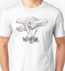 Fungi mushroom study mono pencil drawing Unisex T-Shirt