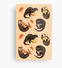 Tiny otters and their sushi Metal Print