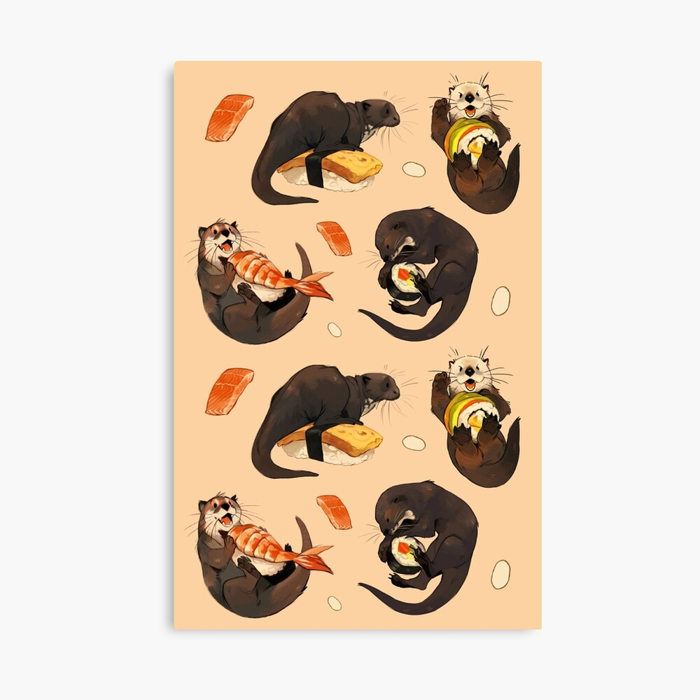 Tiny otters and their sushi Canvas Print