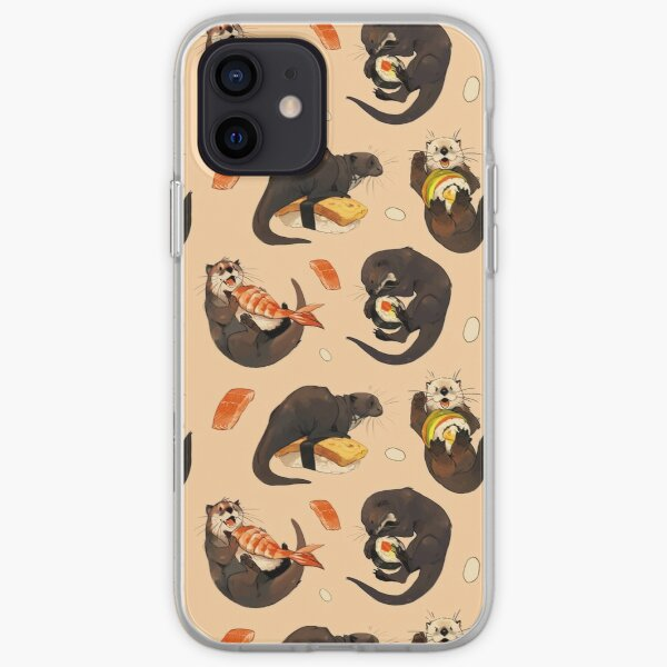 Tiny otters and their sushi iPhone Soft Case