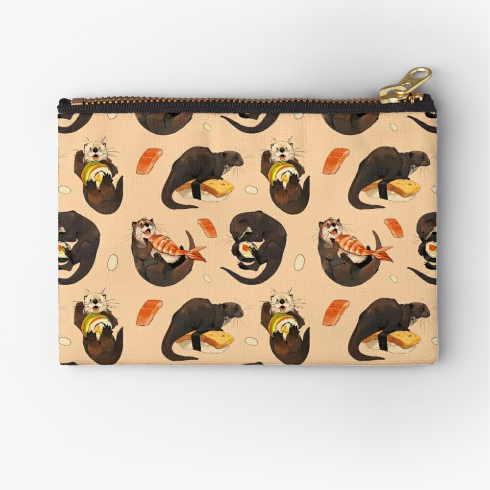 Tiny otters and their sushi Zipper Pouch