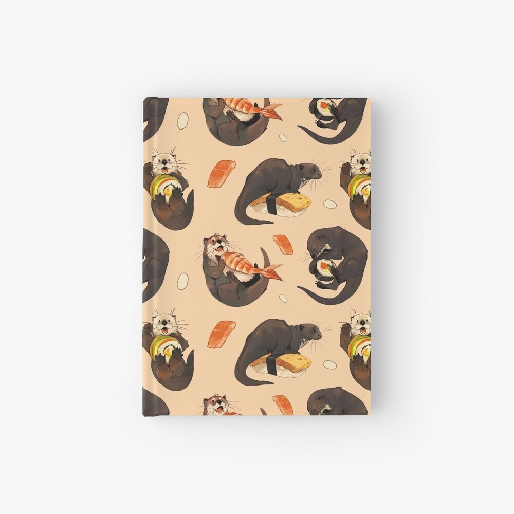 Tiny otters and their sushi Hardcover Journal