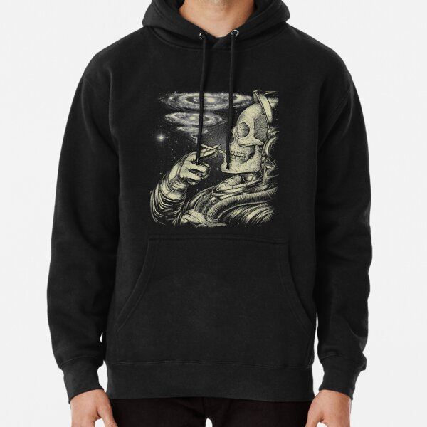 Winya No. 31 Relaxing Skeleton Astroanut Smoking Amoung the Stars in the Space Pullover Hoodie