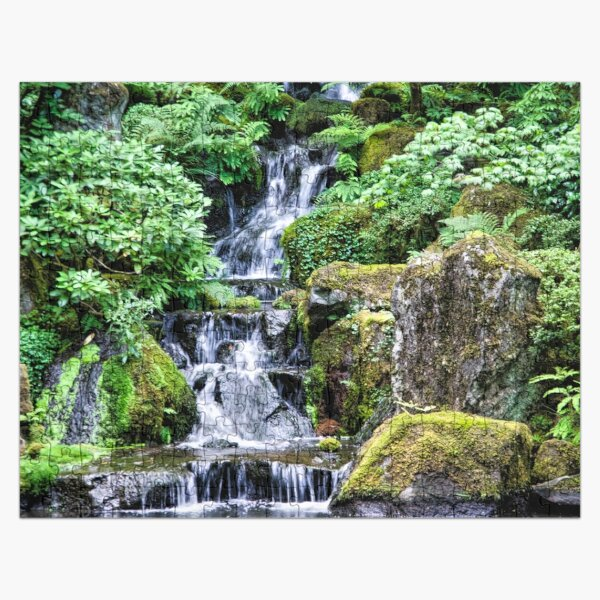Waterfall in a Japanese Garden - Portland Oregon Jigsaw Puzzle