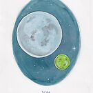Haruki Murakami's 1Q84 // Novel Illustration of Two Moons in a Night Sky in Pencil & Watercolour by arosecast