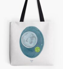 Haruki Murakami's 1Q84 // Novel Illustration of Two Moons in a Night Sky in Pencil & Watercolour Tote Bag