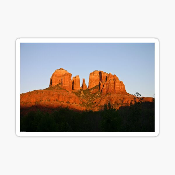 Cathedral Rock as the Sun sets Sticker