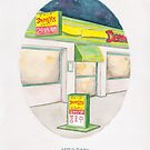 Haruki Murakami's After Dark // Illustration of a Denny's Diner with a Starry Night Sky in Pencil & Watercolour by arosecast