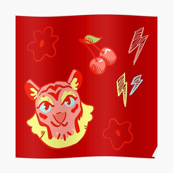 Tiger + Doodles Poster