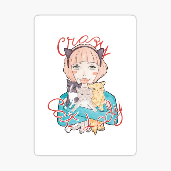 Crazy Cat Lady // A Pink-Haired Girl with her Three Cats Sticker