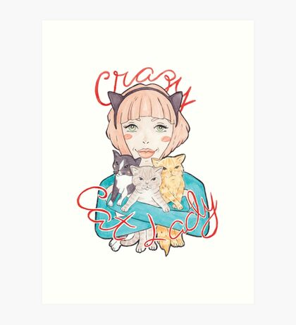 Crazy Cat Lady // A Pink-Haired Girl with her Three Cats Art Print