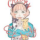 Crazy Cat Lady // A Pink-Haired Girl with her Three Cats by arosecast