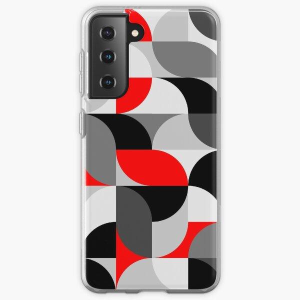 Arcs Pattern Red Black Grey Samsung Galaxy Soft Case