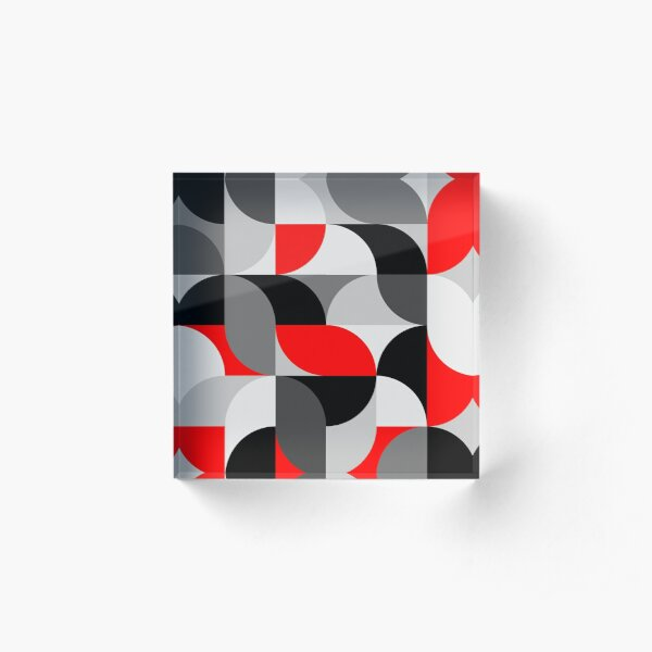 Arcs Pattern Red Black Grey Acrylic Block
