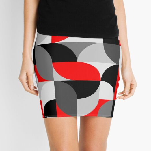 Arcs Pattern Red Black Grey Mini Skirt