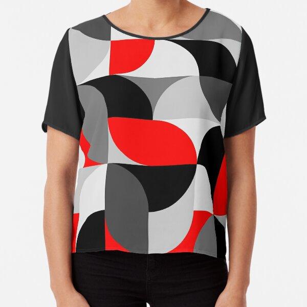 Arcs Pattern Red Black Grey Chiffon Top