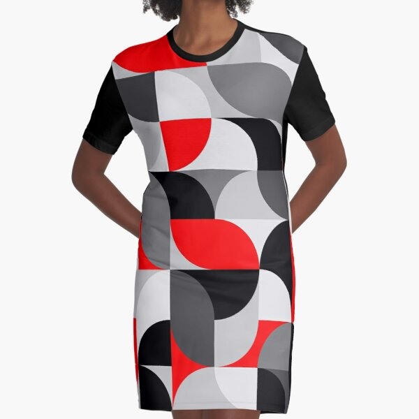 Arcs Pattern Red Black Grey Graphic T-Shirt Dress