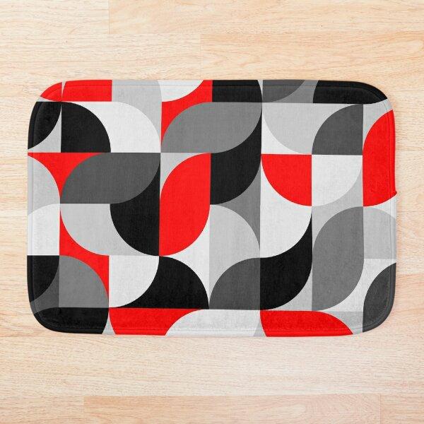 Arcs Pattern Red Black Grey Bath Mat