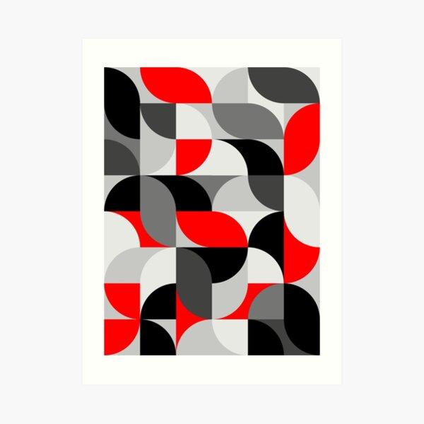 Arcs Pattern Red Black Grey Art Print