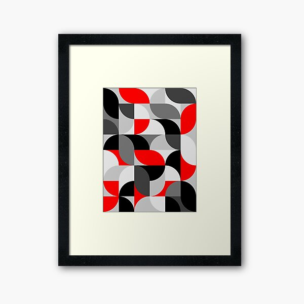 Arcs Pattern Red Black Grey Framed Art Print