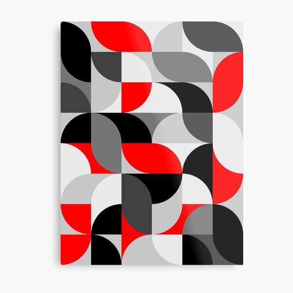 Arcs Pattern Red Black Grey Metal Print
