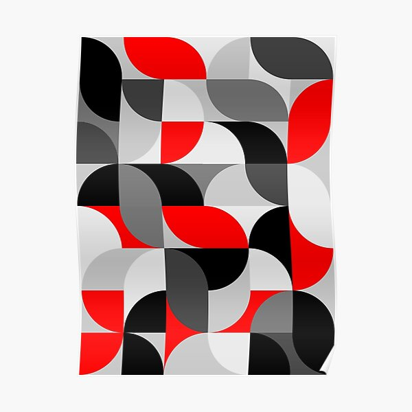 Arcs Pattern Red Black Grey Poster