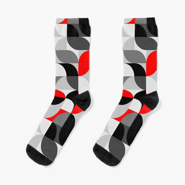 Arcs Pattern Red Black Grey Socks