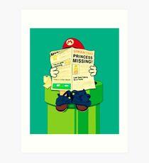 pooping Mario Art Print