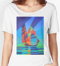 Cubist Abstract Junk Boat Against Deep Blue Sky Women's Relaxed Fit T-Shirt