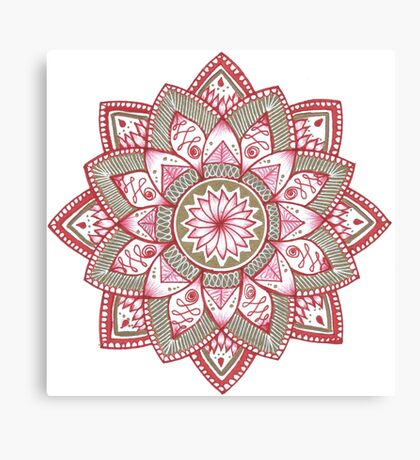 Golden Red Mandala Canvas Print