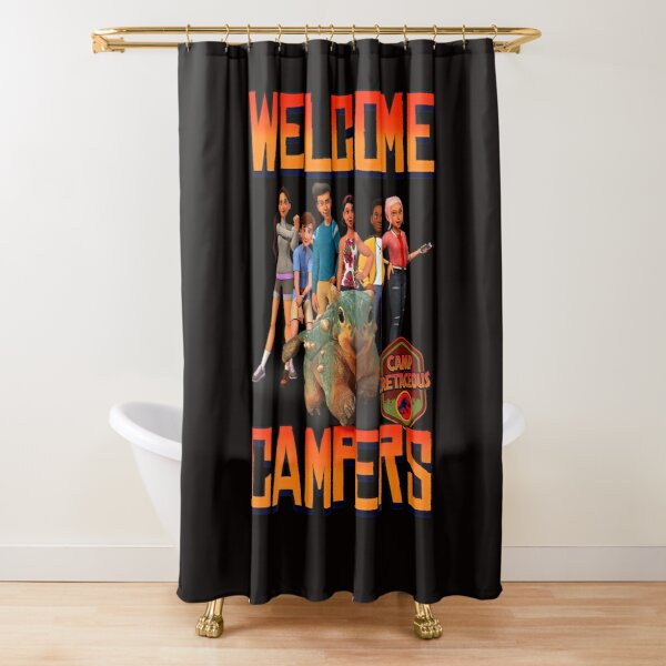 Jurassic World Camp Cretaceous Welcome Campers Group T Shirt Shower Curtain