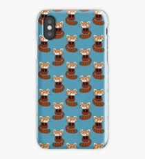 Cute Red Panda Blue Pattern iPhone Case