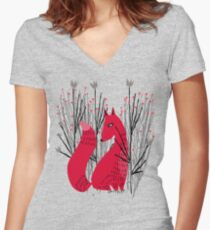 Fox in Shrub Women's Fitted V-Neck T-Shirt