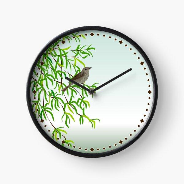 Nightingale on a tree branch.  Clock
