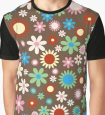 Flowers, Petals, Blossoms - Red Green Blue Brown Graphic T-Shirt