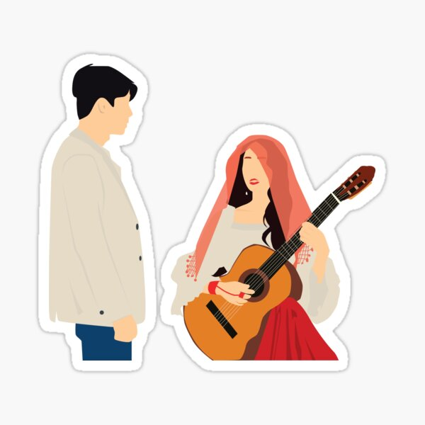 Memories of the Alhambra Yellow Background Sticker