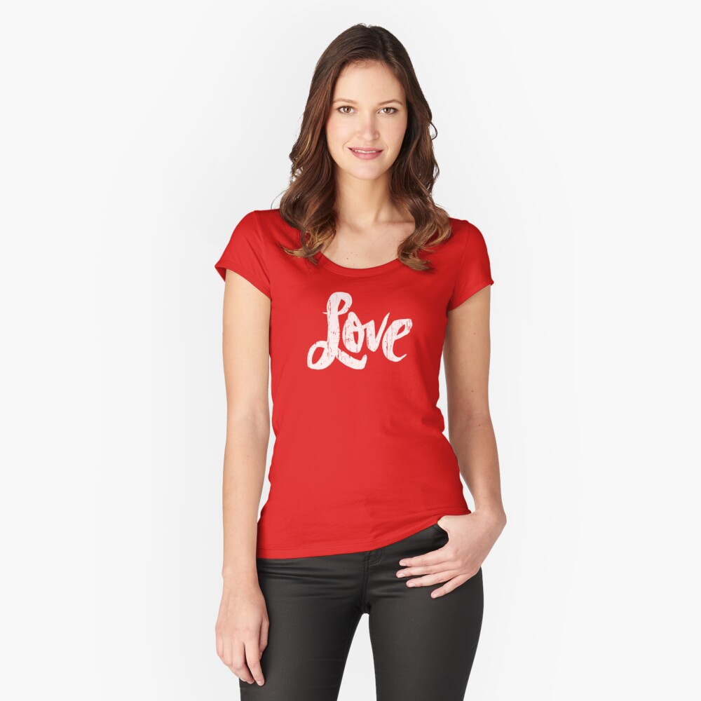 Hippie Love Lettering - Modern Distressed Calligraphy for Valentine - Red White Fitted Scoop T-Shirt