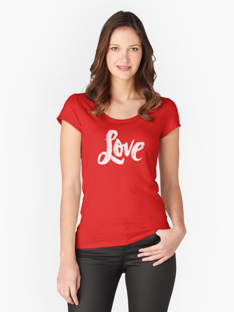 Hippie Love Lettering - Modern Distressed Calligraphy for Valentine - Red White Women's Fitted Scoop T-Shirt Front
