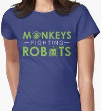 Monkeys Fighting Robots Original  Women's Fitted T-Shirt
