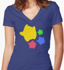 Lumas (Yellow, Red, Blue, Green) Women's Fitted V-Neck T-Shirt