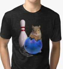 Bowling Squirrel Tri-blend T-Shirt