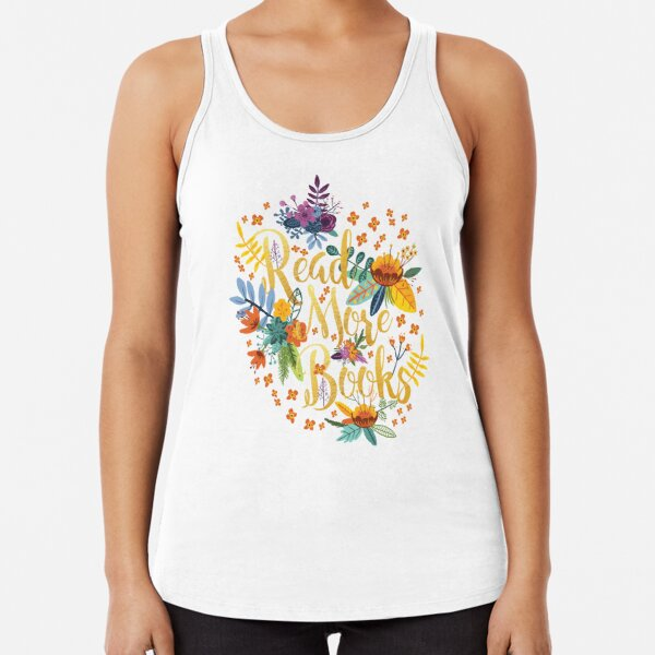 Read More Books - Floral Gold Racerback Tank Top